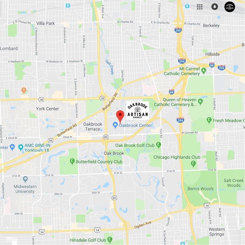Oak Brook Artisan Market - Location Map near highways