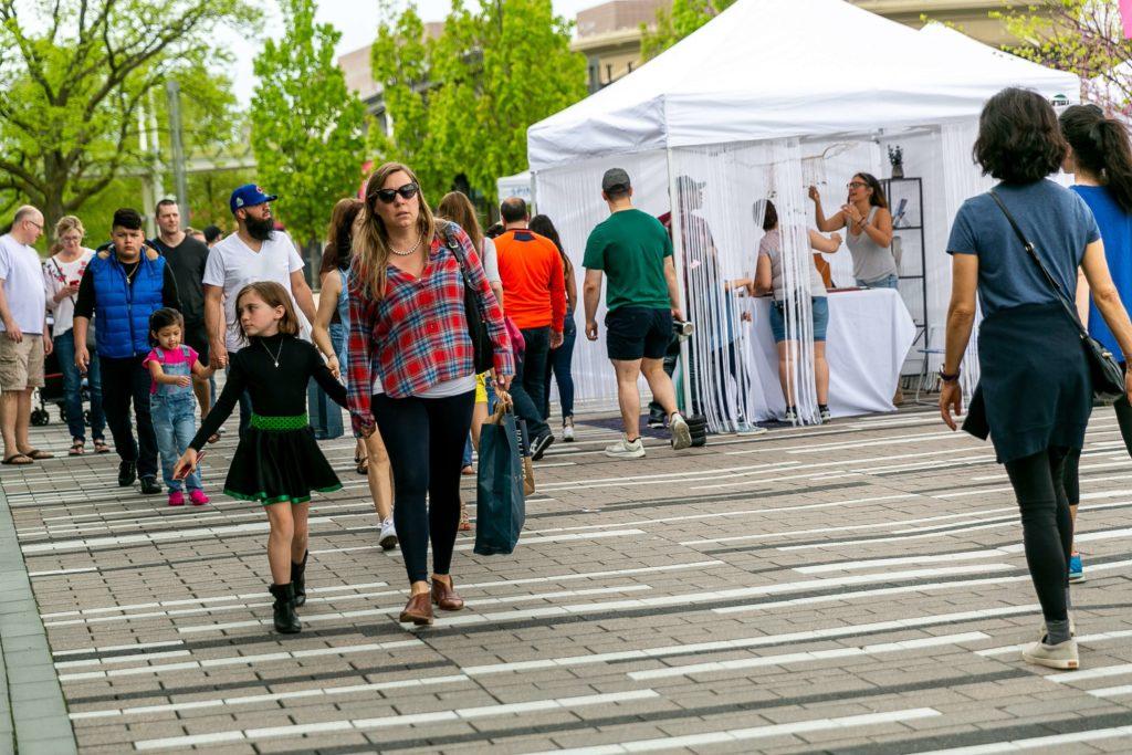 Oak Brook Artisan Market - Woman & Child strolling